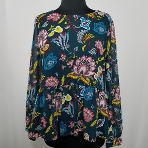 LOFT Top Long Sleeve Floral Chiffon Peplum Ruffle